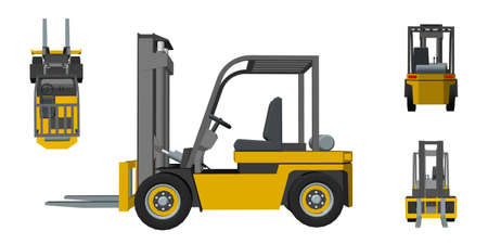 Forklift truck. Isolated on white background. 3d Vector illustration. Different viewes.