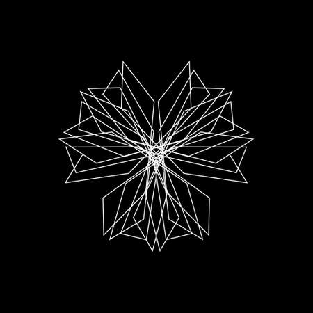 Abstract geometric shape of lines. Isolated on black background. Vector outline illustration.