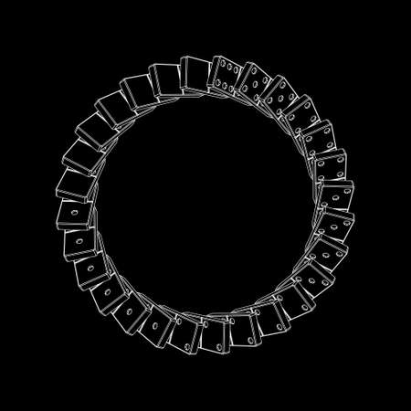 Circle of falling dominoes. Isolated on black background. Vector outline illustration. Top view.
