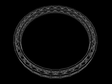 Truss circle. Vector outline illustration. Isolated on black background.