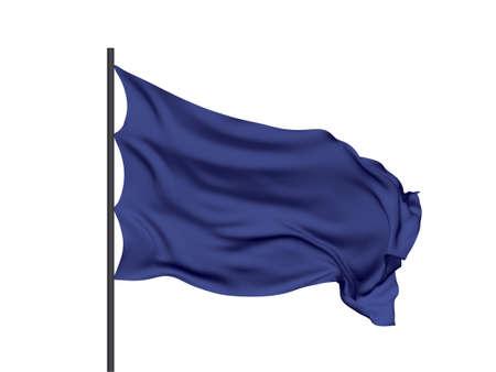 Blank blue waving flag. Vector illustration. No gradient, no gradient mesh.