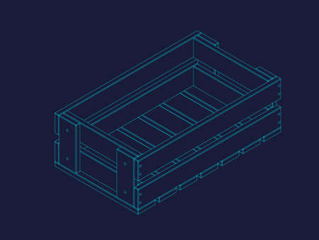 Empty wooden crate. Vector outline illustration. Isometric projection. Stock Illustratie