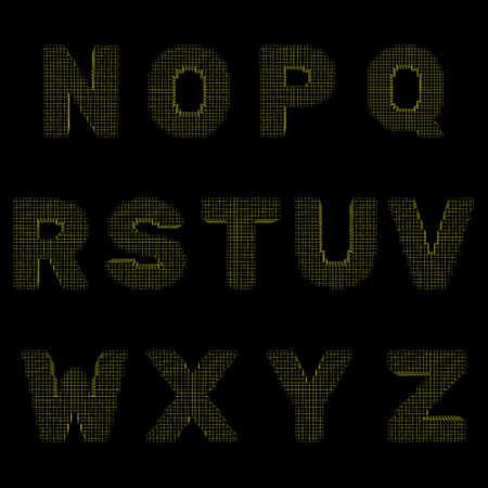 3d pixelated capital letter set.Isolated on black background.Vector outline illustration.