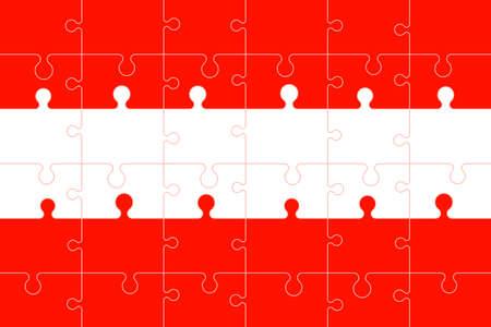 Puzzle flag of Austria.Colorful vector illustration. Stock Illustratie