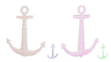 Nautical anchor carcass set. Vector outline illustration. Stock Illustratie