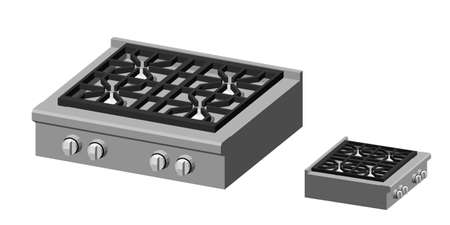 Gas stove. Isolated on white background. 3d Vector illustration. Dimetric projection.