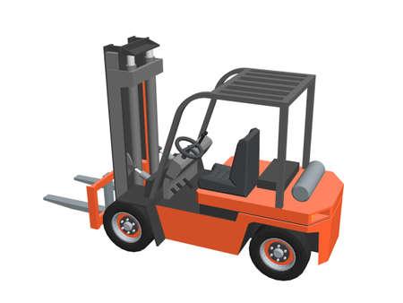 Forklift truck. Isolated on white background. 3d Vector illustration.