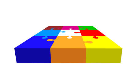 Jigsaw puzzle. Isolated on white background. 3d Vector colorful illustration.