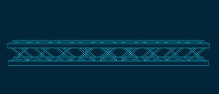 Truss girder. Vector outline illustration. Front view. Stock Illustratie