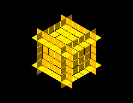 Abstract polygonal cube with cuts. Isolated on black background. 3d Vector illustration. Isometric projection. Çizim
