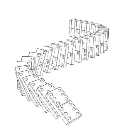 Falling dominoes. Isolated on white background.Vector outline illustration.