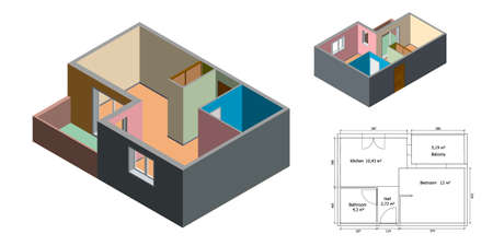 Empty floor plan. Isolated on white background. 3d Vector illustration. Different viewes. Isometric projection.