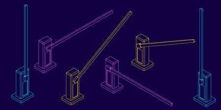 Automatic barrier. Vector outline illustration. Different viewes. Isometric projection.