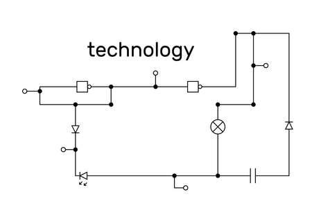 Electronic circuit scheme. Technology concept. Vector illustration. Stock Illustratie