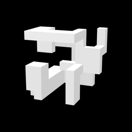Abstract 3d construction. Isolated on black background.Vector illustration.