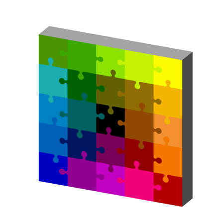 Jigsaw puzzle. Isolated on white background. 3d Vector colorful illustration. Dimetric projection.