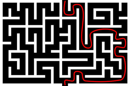 Rectangle maze with solution. Vector illustration.