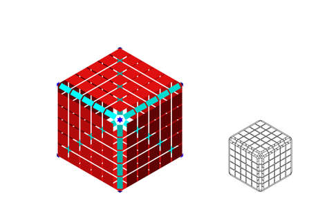 Abstract polygonal broken cube. Isolated on white background. 3d Vector illustration. Isometric projection. Stock Illustratie