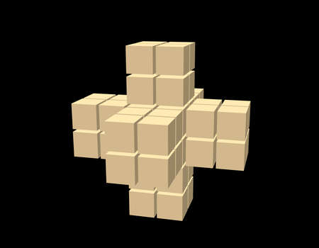 Abstract 3d shape from cubes. Isolated on black background. Vector illustration. Stock Illustratie