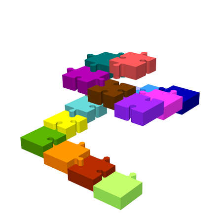 Stairway of puzzle. Isolated on white background. 3d Vector colorful illustration. Stock Illustratie