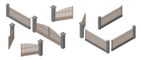 Set of fences and gates. Isolated on white background. 3d Vector illustration. Isometric projection.