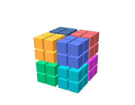 Abstract 3d cube from cubes. Isolated on white background. Vector colorful illustration.