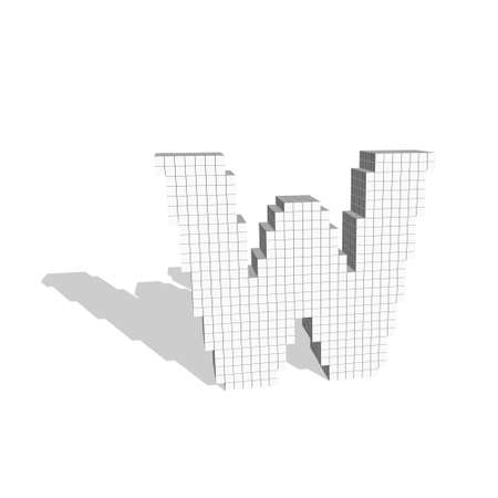 3d pixelated capital letter W. Isolated on white background.Vector illustration. Çizim
