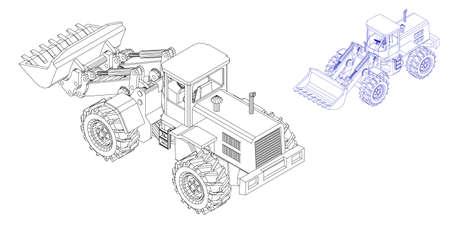 Bulldozer. Isolé sur fond blanc. Illustration de contour de vecteur. Projection isométrique.
