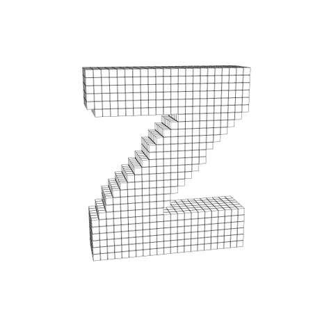 3d pixelated capital letter Z. Isolated on white background.Vector outline illustration. Çizim