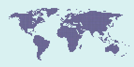 Abstract pixel world map. Halftone style. Vector illustration.