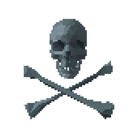 Skull and bones. Pirate simbol. Isolated on white background. Vector illustration. Pixel art. 向量圖像