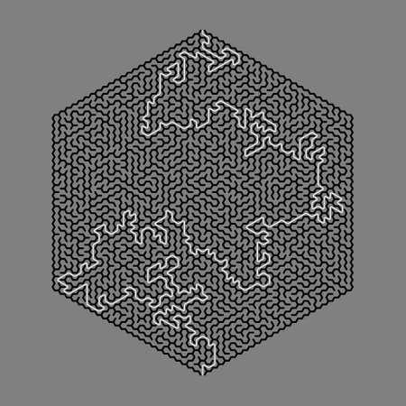 Hexagon maze with solution. Vector illustration.