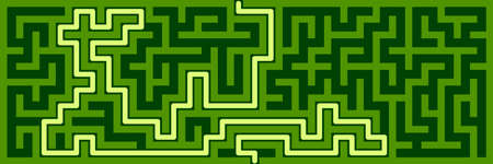 Panoramic maze with solution. Vector illustration. 일러스트