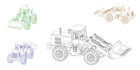 Bulldozer. Isolé sur fond blanc. Illustration de contour de vecteur. Projection dimétrique.
