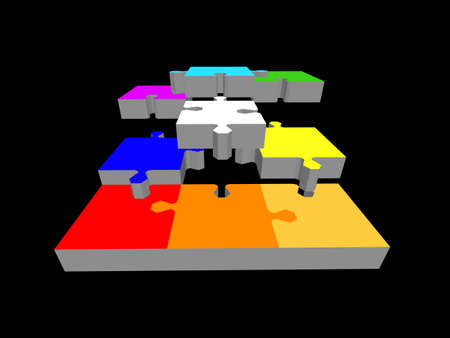 Disconnected puzzle. Isolated on black background. 3d Vector colorful illustration.