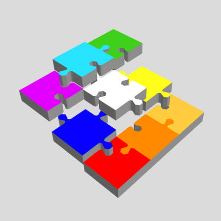 Disconnected puzzle. Isolated on grey background. 3d Vector colorful illustration.