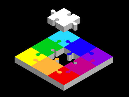 Disconnected puzzle. Isolated on black background. 3d Vector colorful illustration. Isometric projection.