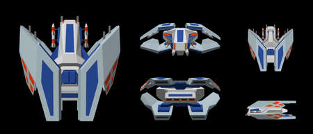 Futuristic spaceship. Isolated on black background. 3d Vector illustration. Different viewes.