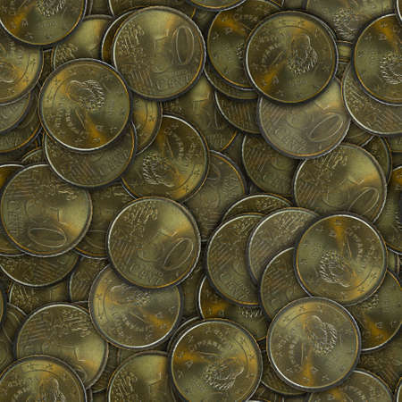 Background of coins. Seamless pattern. 50 euro cent. Stock fotó