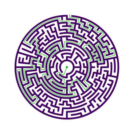 Round labyrinth with solution. Vector illustration.