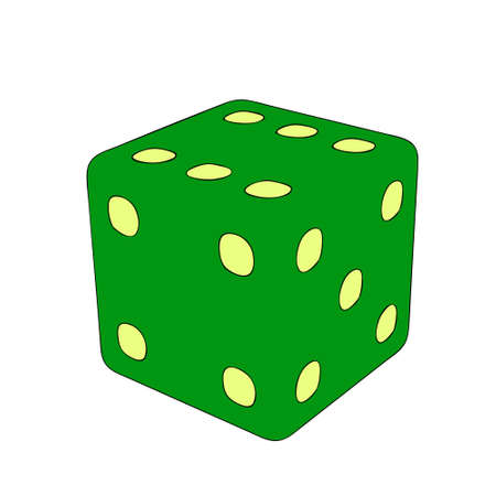 Game dice. isolated on white background. Vector outline illustration.  イラスト・ベクター素材