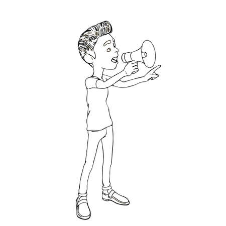 Cartoon character boy speaks with a megaphone. Vector outline illustration.