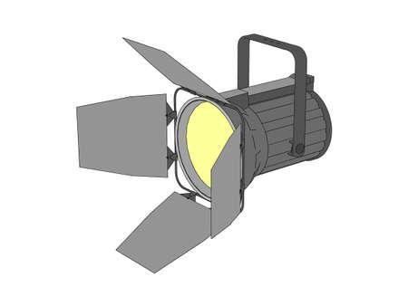 Studio lamp. Isolated on white background. 3d Vector outline illustration.
