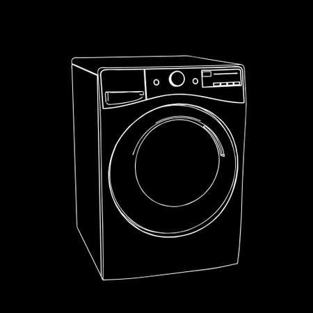 Washing machine. Vector outline illustration.