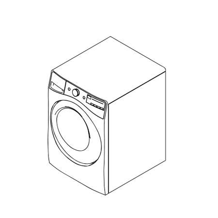 Washing machine. Vector outline illustration. Isometric projection.