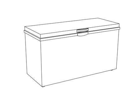 Diepvrieskist. Vector overzicht illustratie. Geïsoleerd op een witte achtergrond. Vector Illustratie