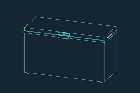 Chest freezer. Vector outline illustration. Dimetric projection. Vector Illustratie