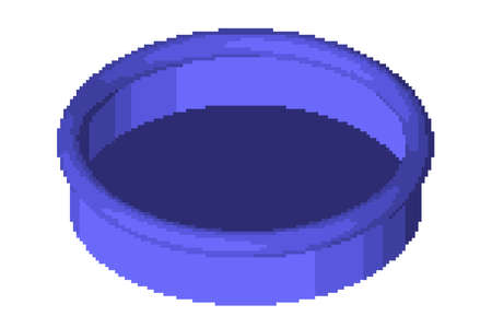 Pixelated round Swimming pool. Pixel Art Vector illustration. Isometric projection. Isolated on white background.