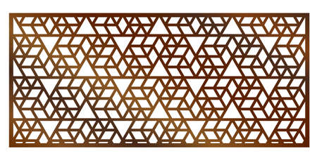 Cutout silhouette panel with ornamental geometric arabic pattern. Template for printing, laser cutting stencil, engraving. Vector illustration. Isolated on white background. Çizim