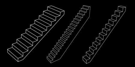 Stairway set. 3d Vector outline illustration. Isolated on black background. Illusztráció